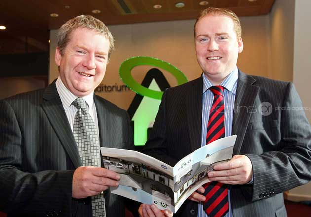 Michael Rogers and Paul Cunningham of Bayview Contracts pictured at the launch of the ESB HALO Service at the National Convention Centre, Dublin.