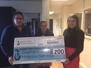 Barry Cunningham & Laura Hillen presenting £200 cheque to SAH Fundraising Assistant Danielle Doherty.
